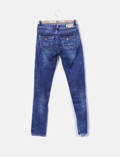 Pantalon denim super slim and low
