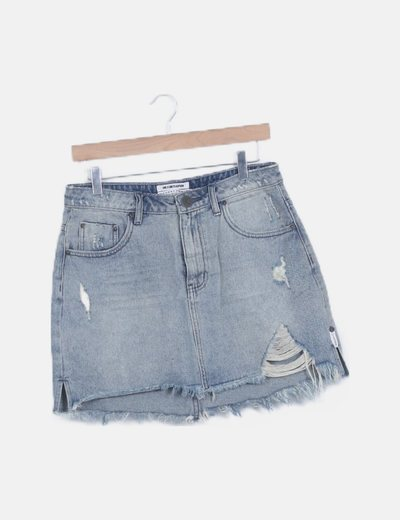Mini falda denim ripped