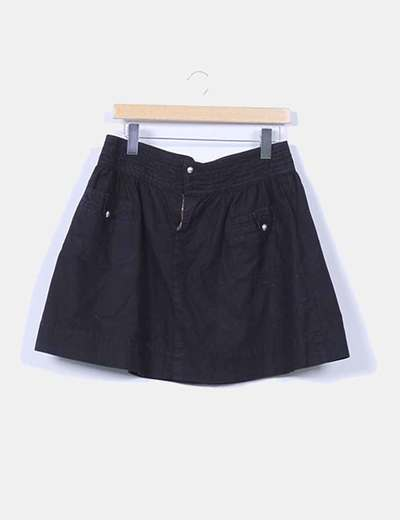 Falda lona negra evasé Zara