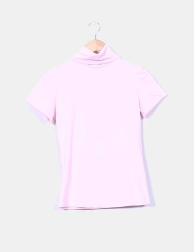 Top rosa de cuello vuelto y manga corta NoName