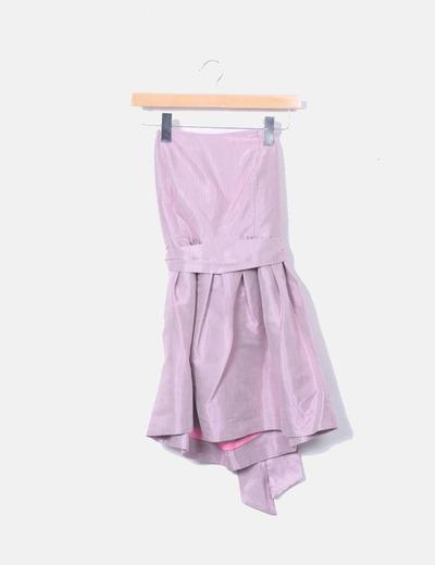 Vestido satinado rosa