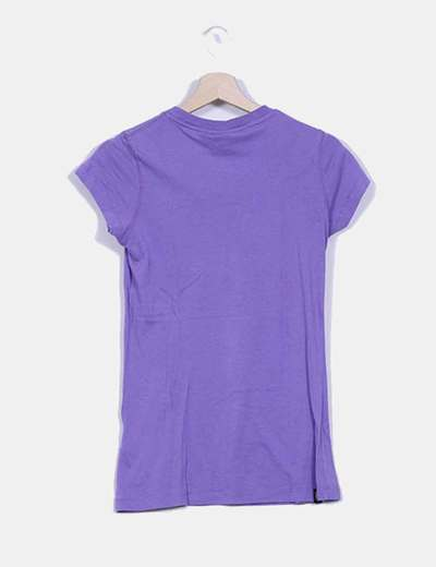 Camiseta morada print manga corta