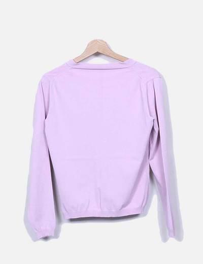 Conjunto de chaqueta y top tricot rosa