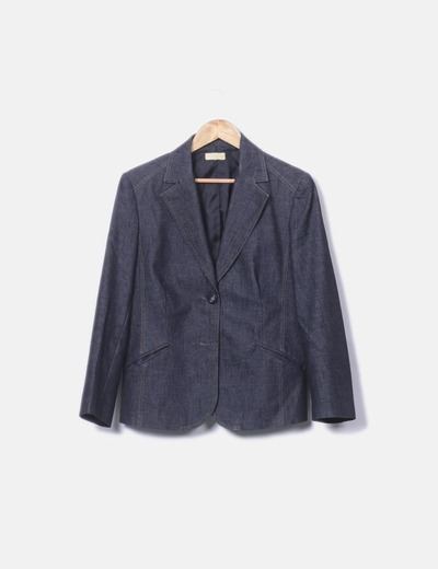 Blazer denim oscurao New Saks Woman