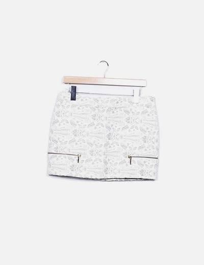 Mini falda beige texturizada Pull&Bear