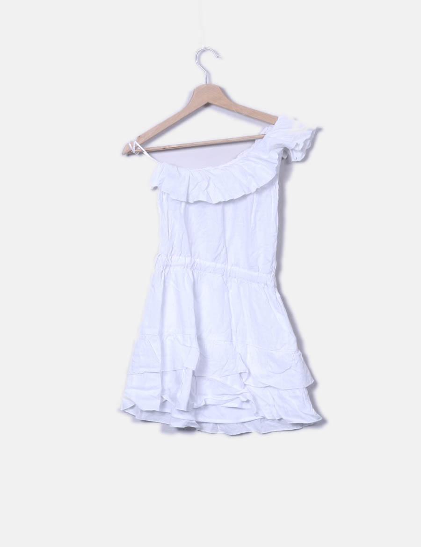 99f14f837a ... Bershka blanco baratos Vestido con online asimétrico Vestidos volante  wIvq74