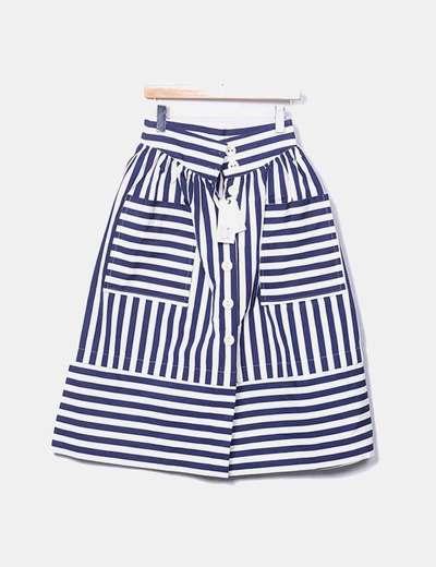 Saia azul marinho com botões e bolsos Carlotta