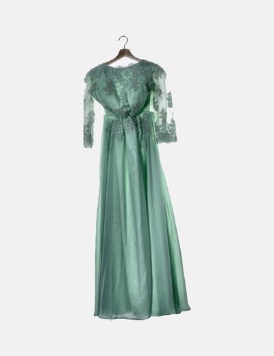 Vestido de fiesta verde con perlas