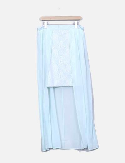 Falda de gasa mint con encaje Suiteblanco