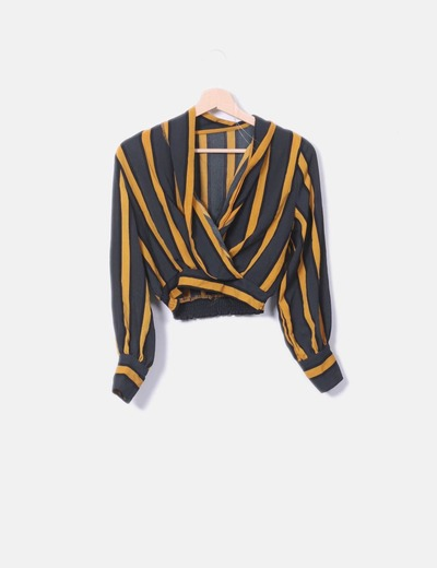 Shorts blouse with crossed stripes NoName