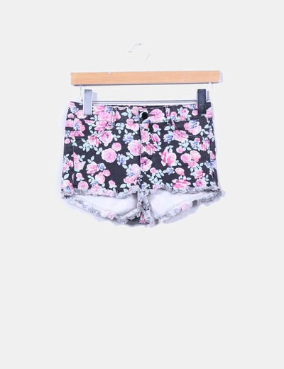 Shorts negro denim floral H&M