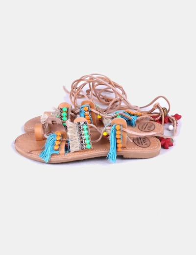 Sandalias pala etnicas lace up