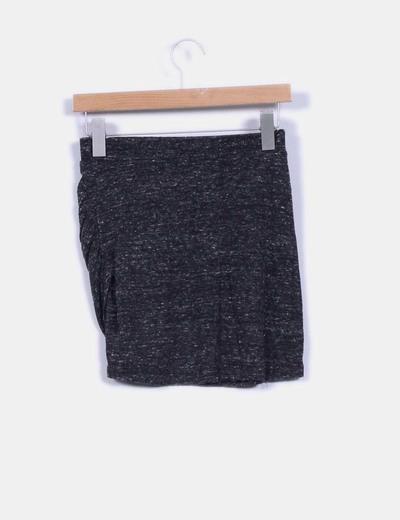 Falda mini gris jaspeada