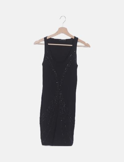 Vestido mini negro strass