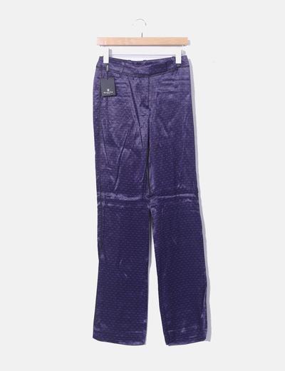 Pantalón satén estampado morado