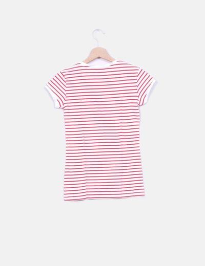 Blanca Blanca Camiseta Camiseta Camiseta Rayas Rojas Con Rayas Con Rojas QtrChsd