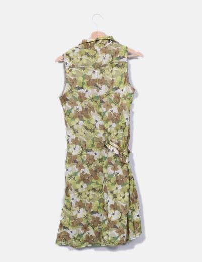 Vestido camisero verde floral