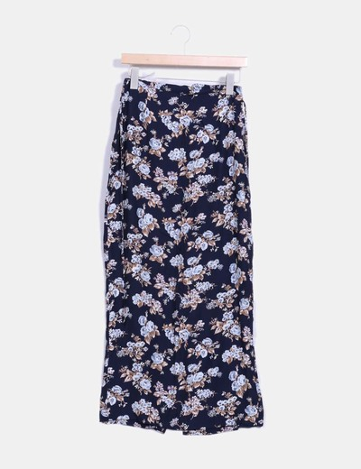 Falda larga azul marino floral NoName