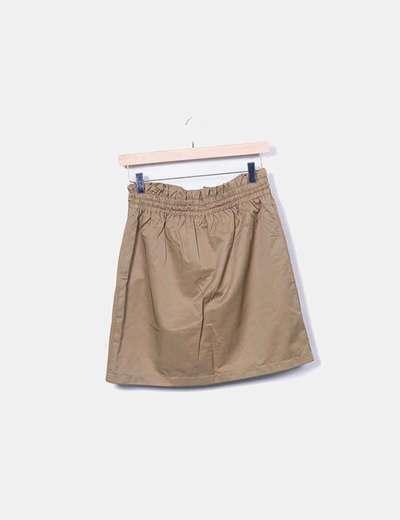 Falda marron con elastico ajustable