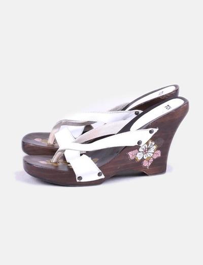 Sandales blanches avec coin de bois TCN