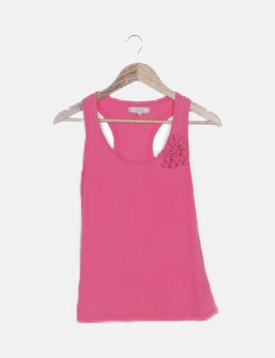 Camiseta rosa detalle lazos