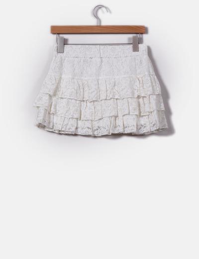 Mini falda cruda de encaje