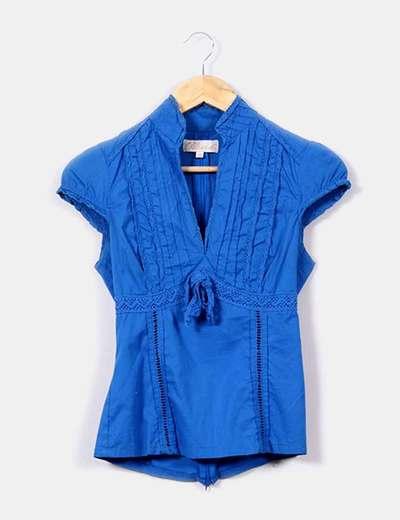 Camisa de cuello mao azul klein  Suiteblanco