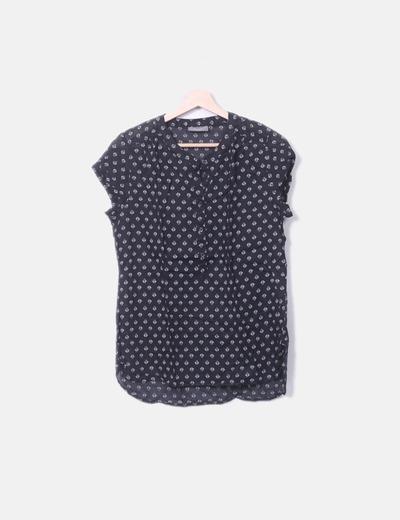 Chemise noire imprimé à manches courtes C&A