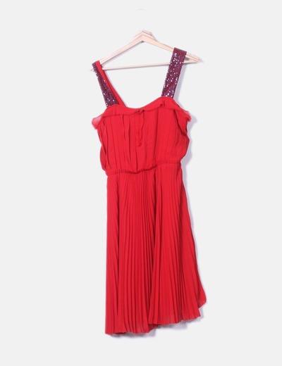 Vestido rojo plisado detalle tirantes