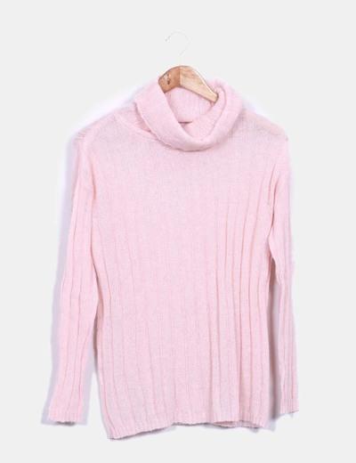 Jersey rosa cuello cisne Mango