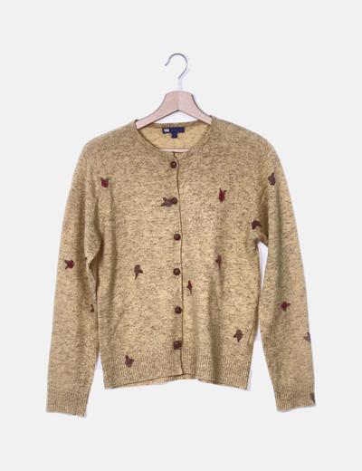 Conjunto chaqueta y camiseta mostaza estampada