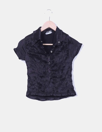 Camisa negra elástica drapeada SOLANA