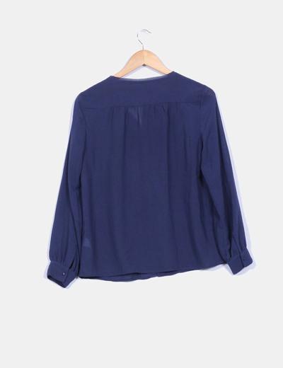Blusa azul marina cierre central