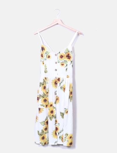 Vestido de tirantes blanco estampado girasoles