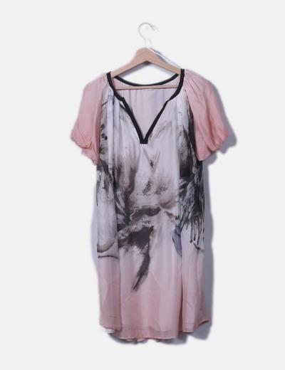 Vestido gasa fluido rosa estampado
