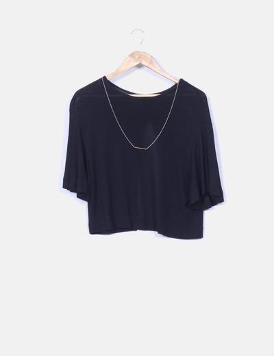 Top negro escote en espalda  Zara