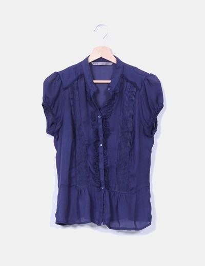 Camisa azul marino detalles Zara