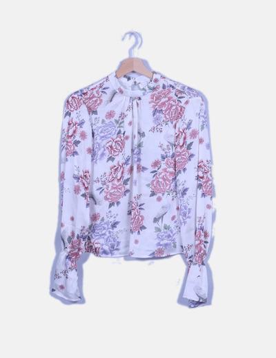 Blusa fluida blanco roto print floral