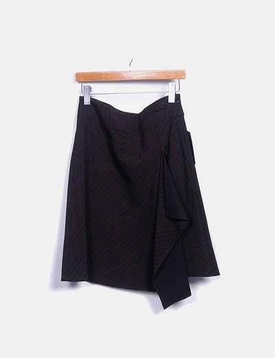 Falda bicolor con volante lateral