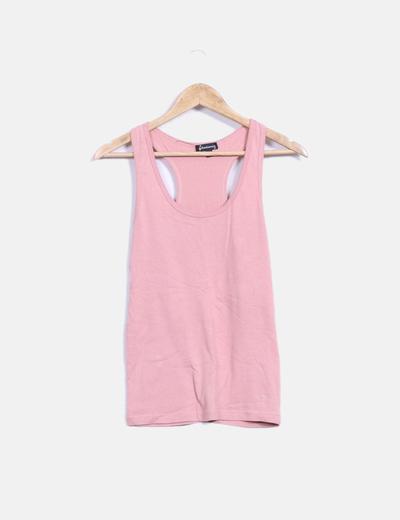 Camiseta básica rosa palo espalda nadadora  Stradivarius