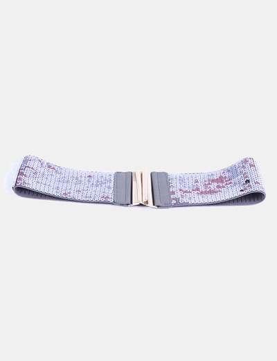 Cinturón gris elástico con paillettes NoName