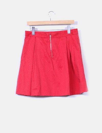 Falda midi roja texturizada animal print