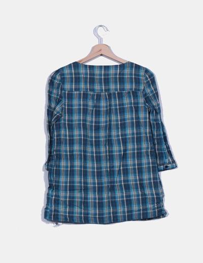 Bluson de cuadros escote bordado