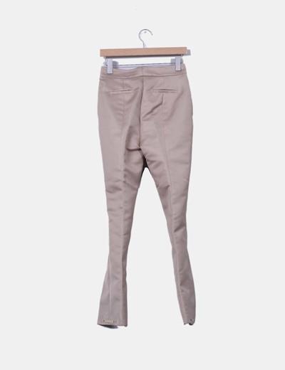 Pantalon rigido beige de pinzas