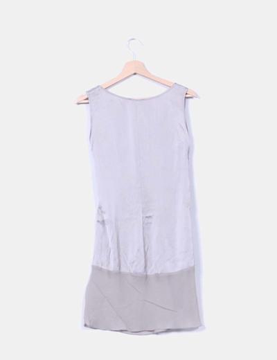 Conjunto vestido combinado y leggings plateado