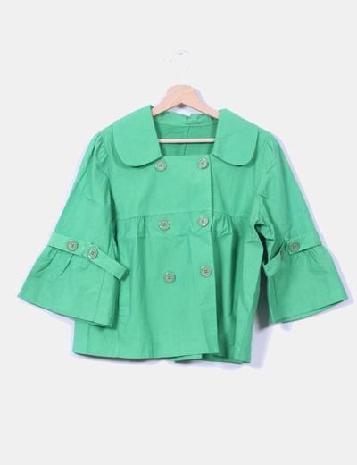 Chaqueta verde menta con doble abotonadura NoName