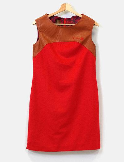 Vestido lana rojo y marrón Amarillolimon