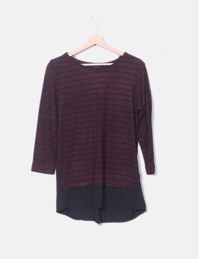 Camiseta tricot de rayas combinada
