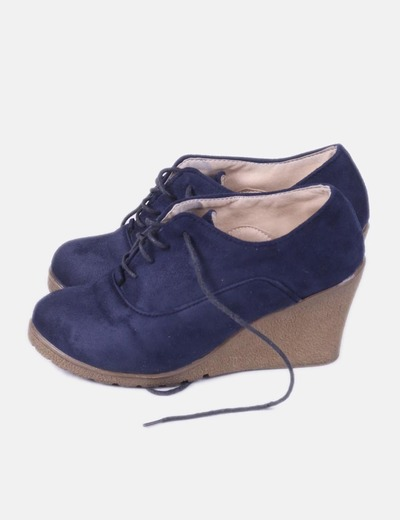Zapato antelina azul