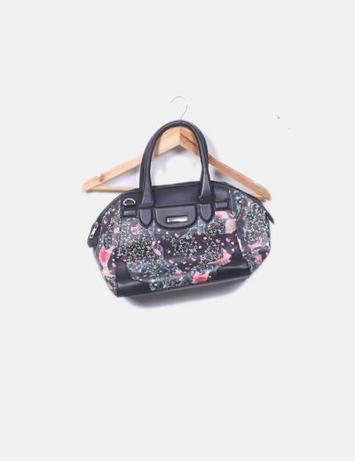 Bolso negro print floral